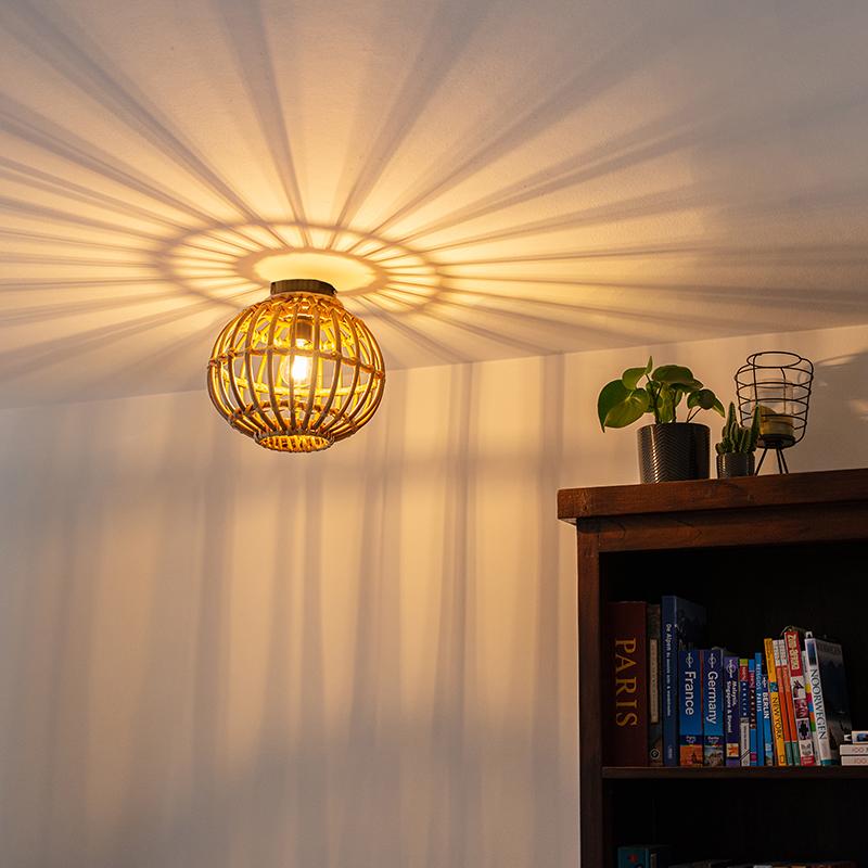 Landelijke plafondlamp bamboe 30 cm - Canna