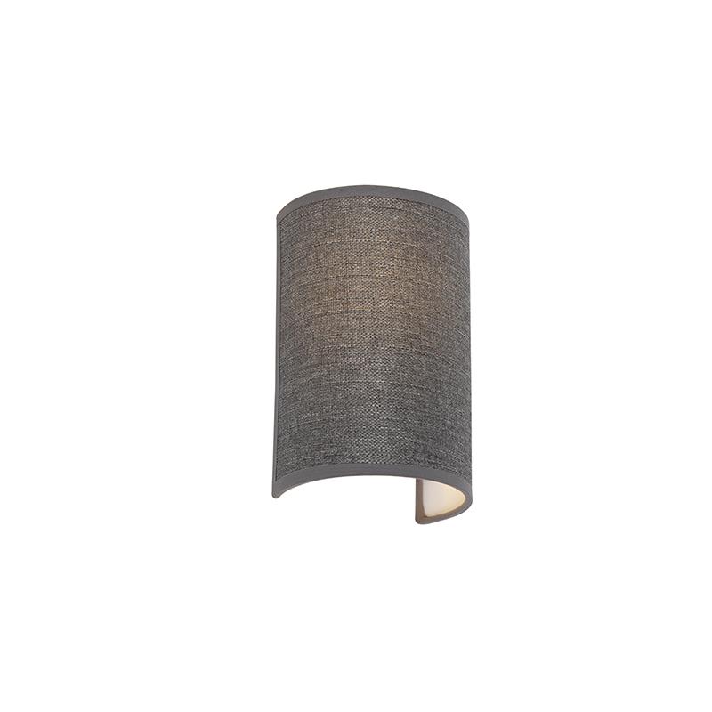 Moderne wandlamp grijs - Simple Drum Jute