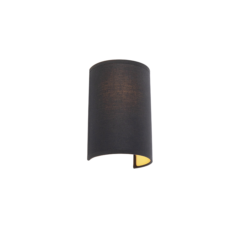 Moderne Wandlamp Zwart En Goud - Simple Drum