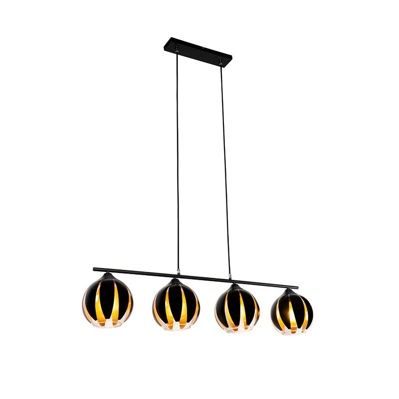 Design hanglamp zwart met goud 4-lichts - Melone