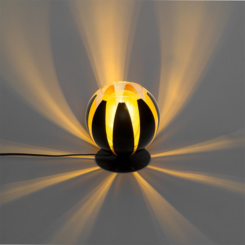 Design tafellamp zwart met goud 20 cm - Melone