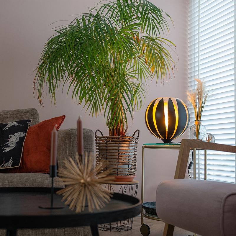 Design tafellamp zwart met goud 30 cm - Melone