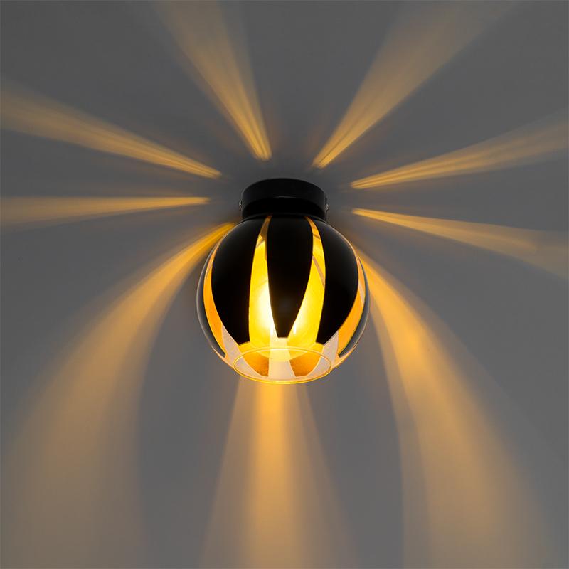 Design plafondlamp zwart met goud - Melone