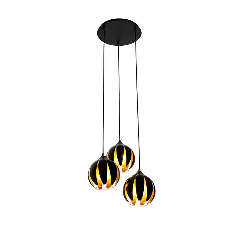 Design hanglamp zwart met goud 3-lichts - Melone