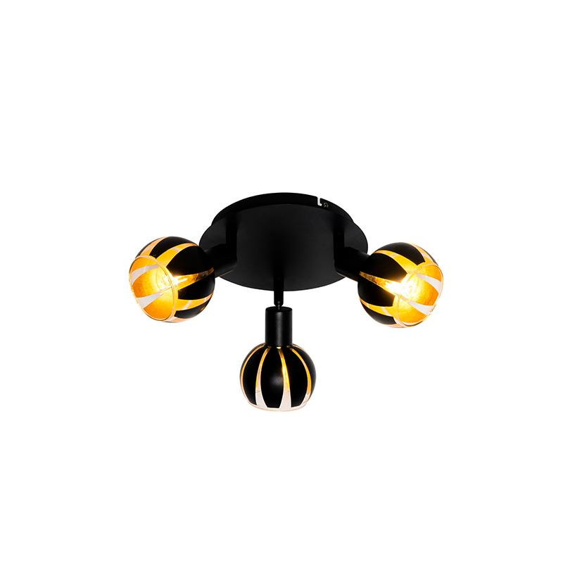 Design spot zwart met goud 3-lichts - Melone