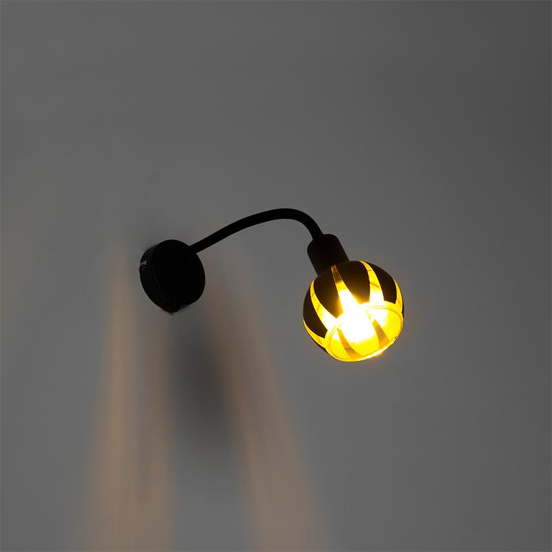 Design wandlamp zwart met goud met flexarm - Melone