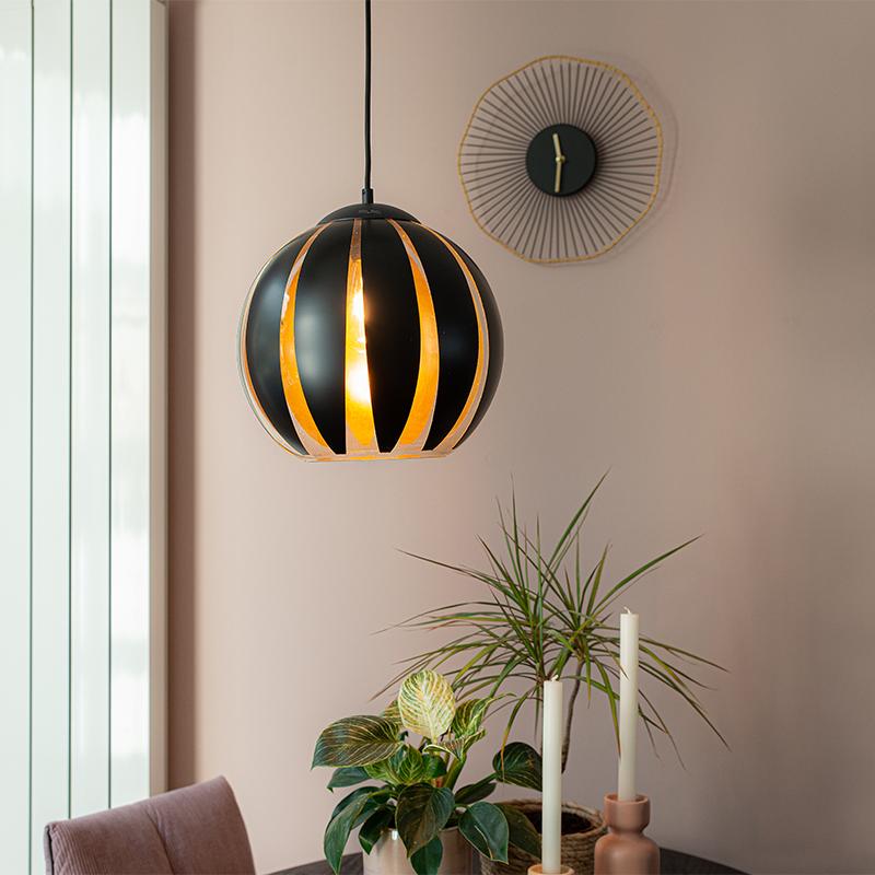 Design hanglamp zwart met goud - Melone