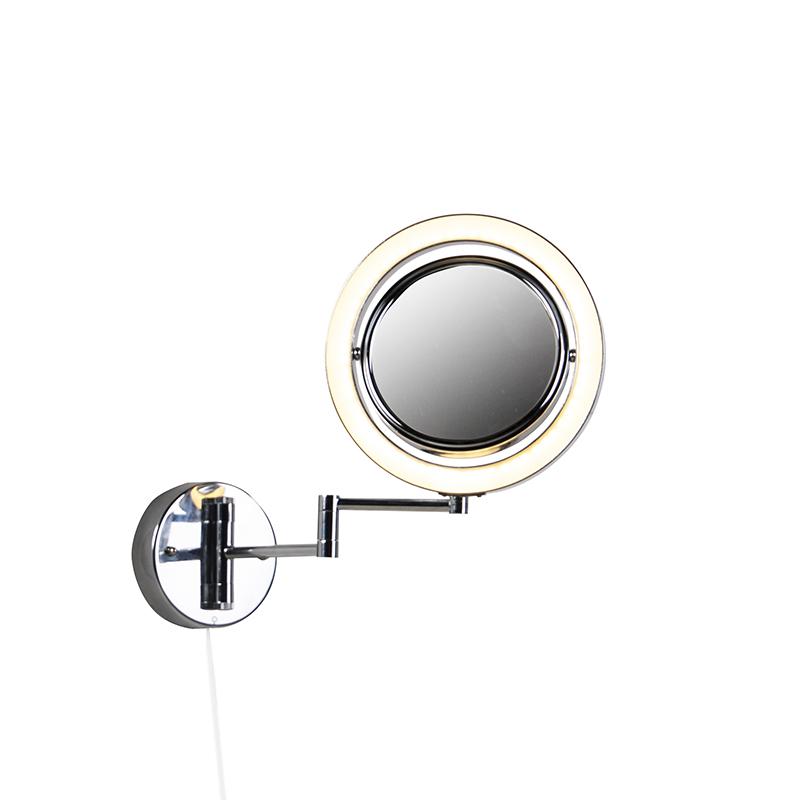 Dizajnové kúpeľňové zrkadlo chróm vrátane LED nastaviteľného IP44 - Vicino