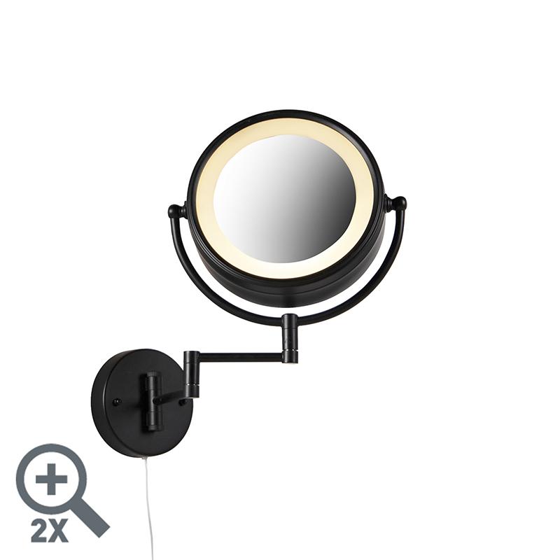 Design wandspiegel zwart incl. LED verstelbaar IP44 met trekkoord - Vicino