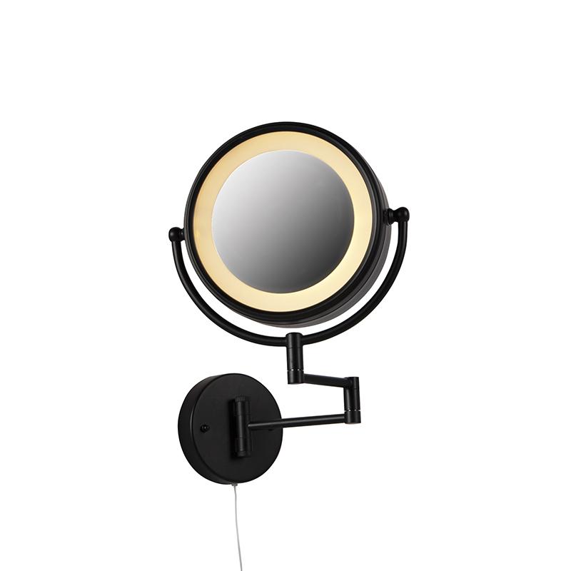 Ronde Make Up Wandspiegel Zwart Trekkoord Schakelaar X2 - Vicino