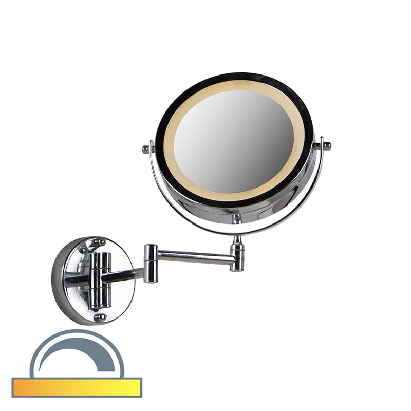 Ronde Make Up Wandspiegel Chroom Op Batterijen X2 - Vicino