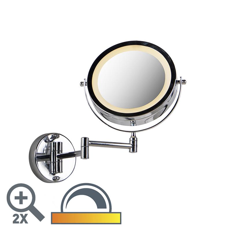 Okrągłe lustro do makijażu chrom na bateriach x2 - Vicino