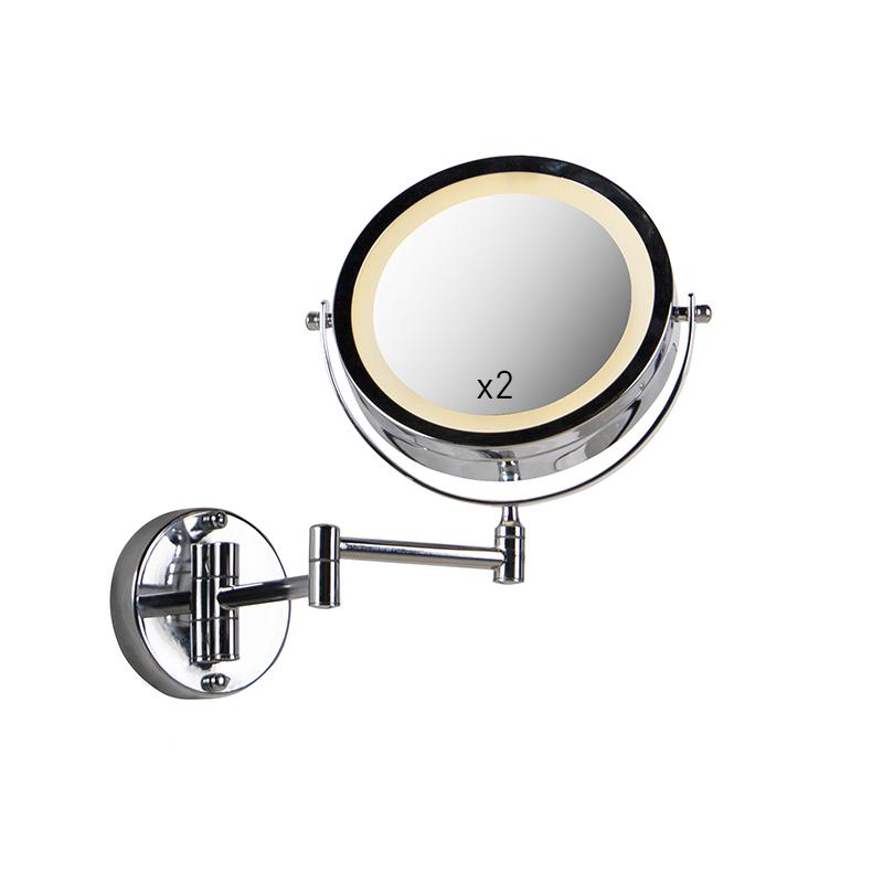 Design wandspiegel chroom incl. LED dim to warm verstelbaar IP44 - Vicino