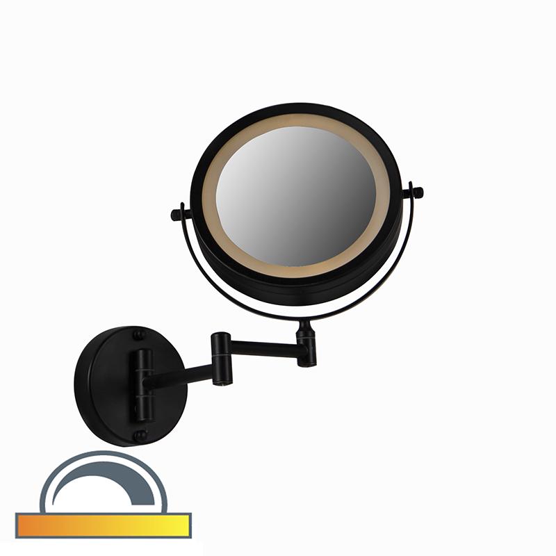 Ronde Make Up Wandspiegel Zwart Op Batterijen X2 - Vicino