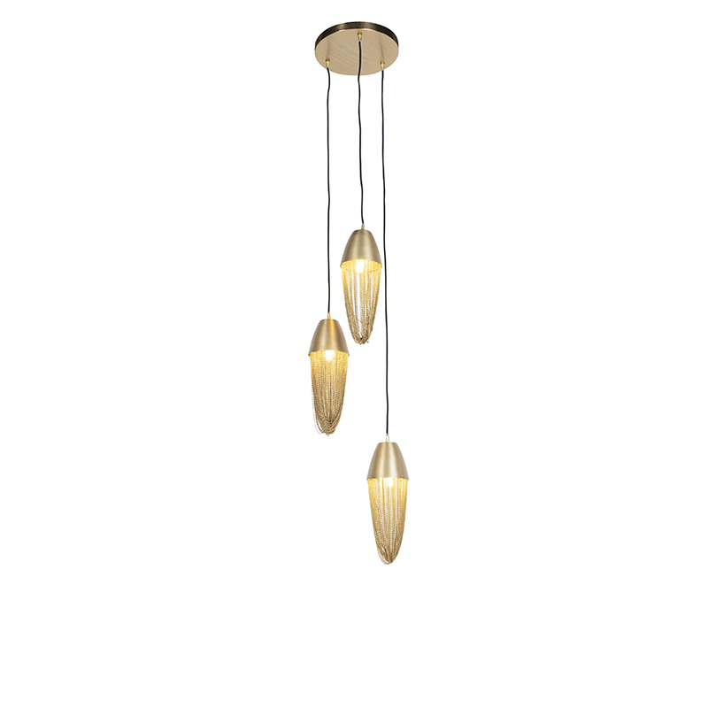 Oosterse hanglamp goud 3-lichts - Catena