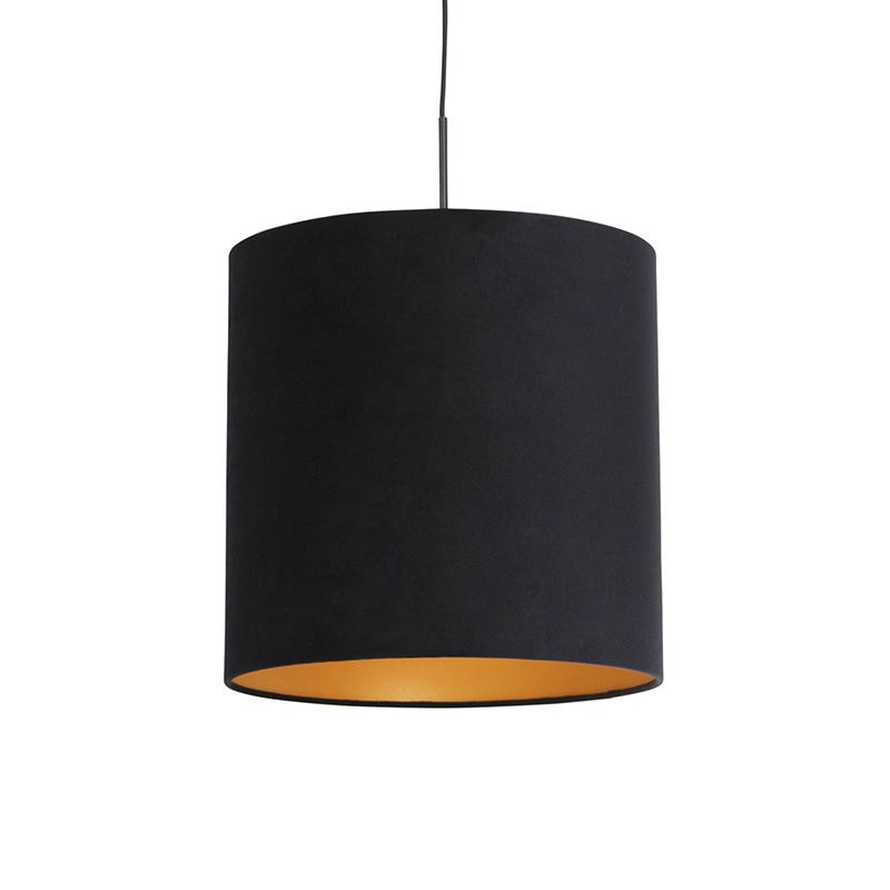 Hanglamp met velours kap zwart met goud 40 cm - Combi