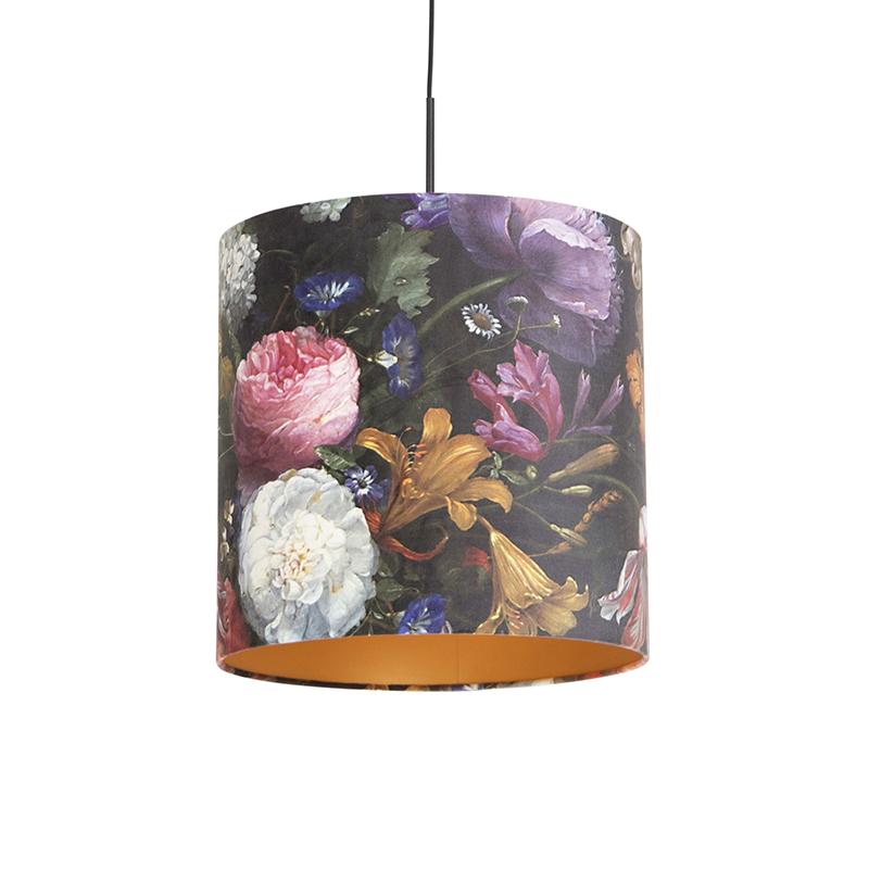 Zwarte hanglamp met velours kap bloemen met goud 40 cm - Combi