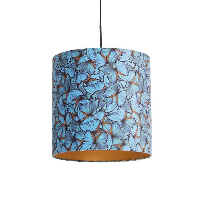 Hanglamp met velours kap vlinders met goud 40 cm - Combi
