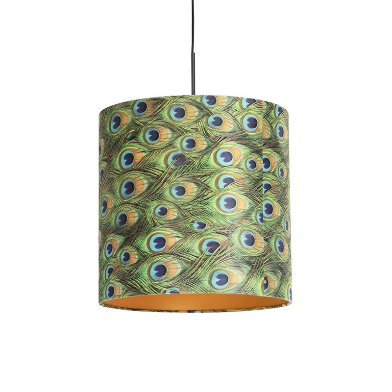 Hanglamp met velours kap pauw met goud 40 cm - Combi