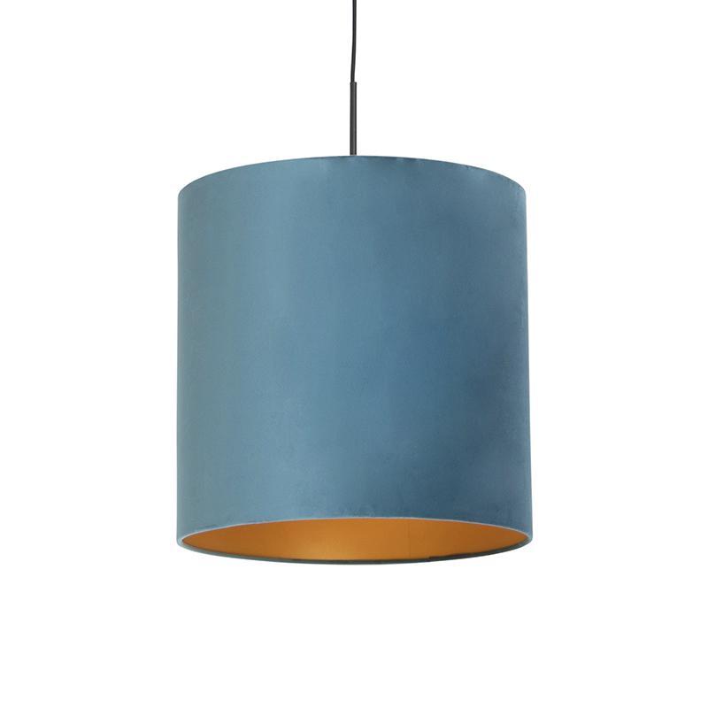 Hanglamp met velours kap blauw met goud 40 cm - Combi