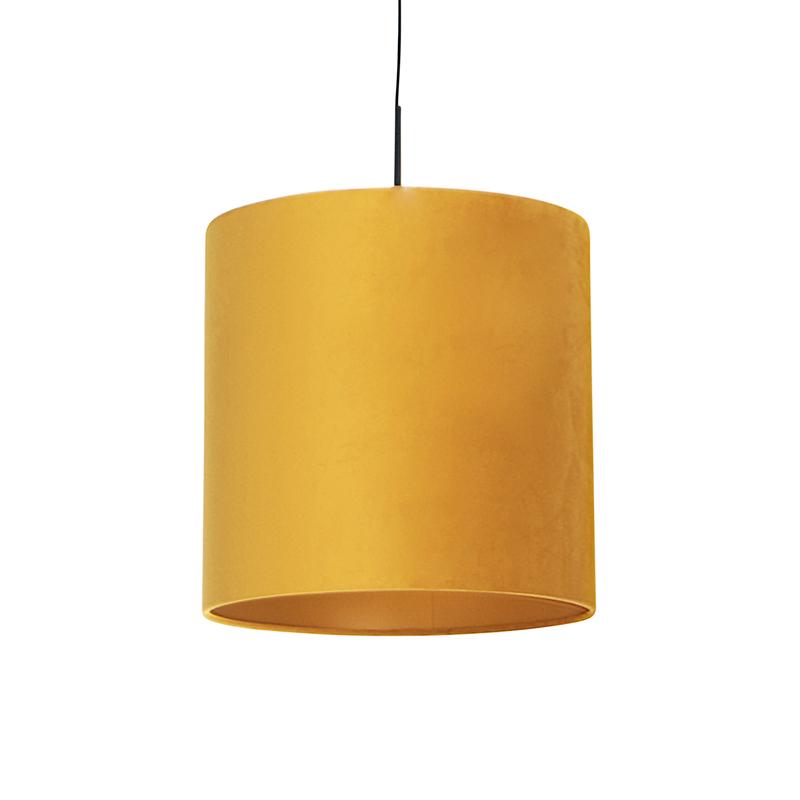 Hanglamp met velours kap geel met goud 40 cm - Combi