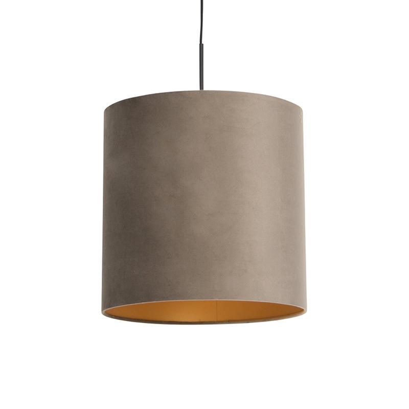 Hanglamp met velours kap taupe met goud 40 cm - Combi