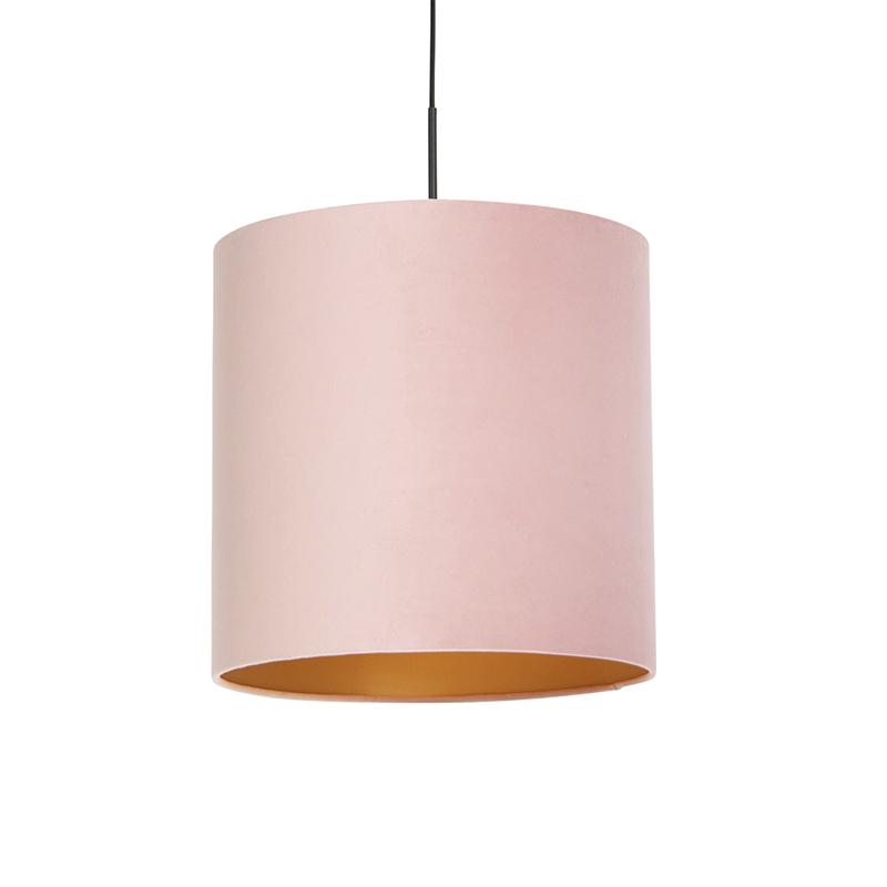 Hanglamp met velours kap roze met goud 40 cm - Combi