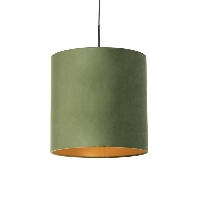 Hanglamp met velours kap groen met goud - Combi