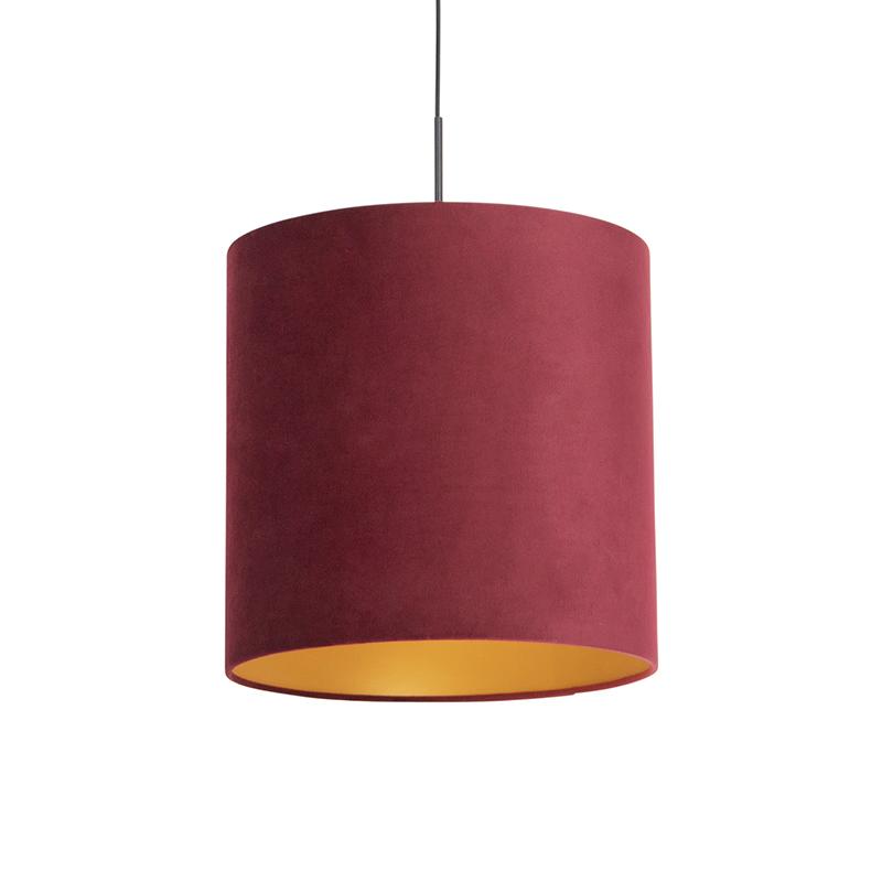 Hanglamp met velours kap rood met goud 40 cm - Combi