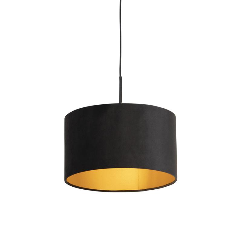 Hanglamp met velours kap zwart met goud 35 cm - Combi