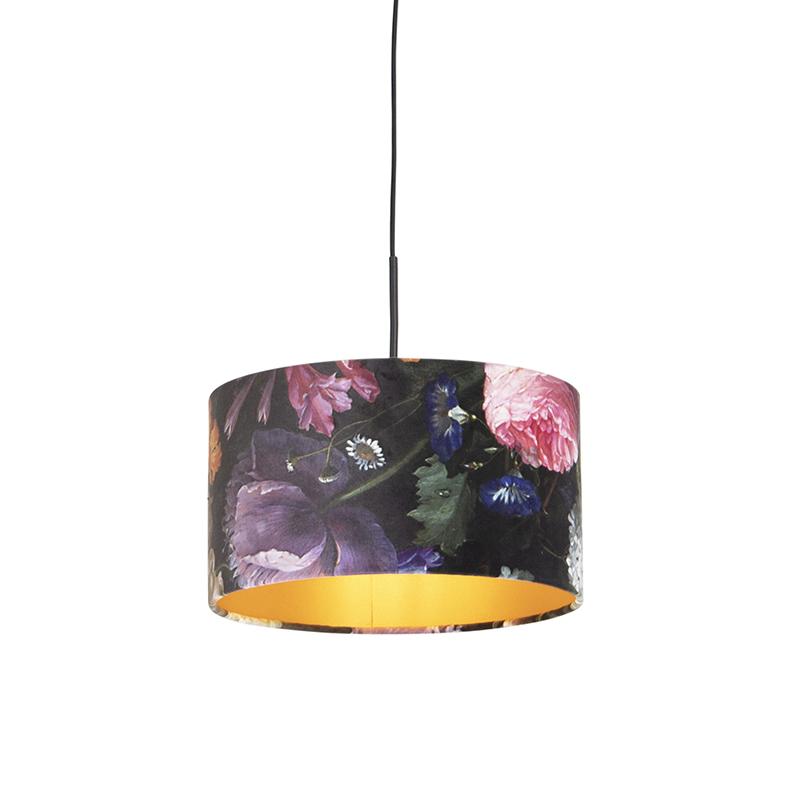 Hanglamp met velours kap bloemen met goud 35 cm - Combi