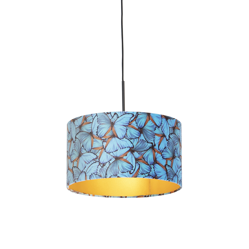 Hanglamp met velours kap vlinders met goud 35 cm - Combi