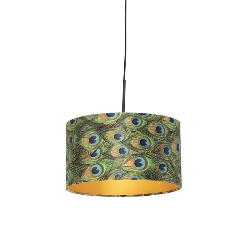 Hanglamp met velours kap pauw met goud 35 cm - Combi