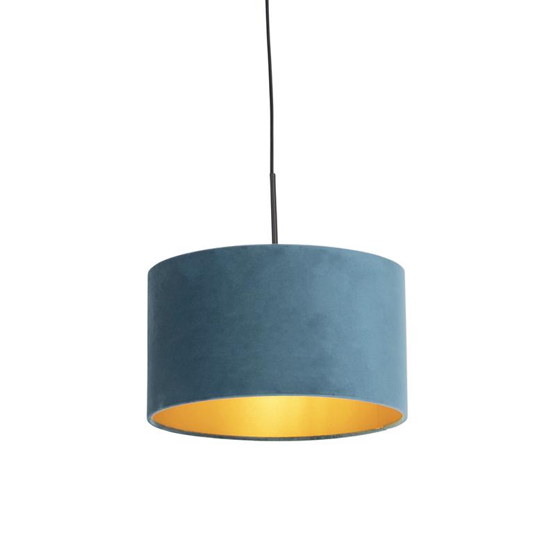 Hanglamp met velours kap blauw met goud 35 cm - Combi