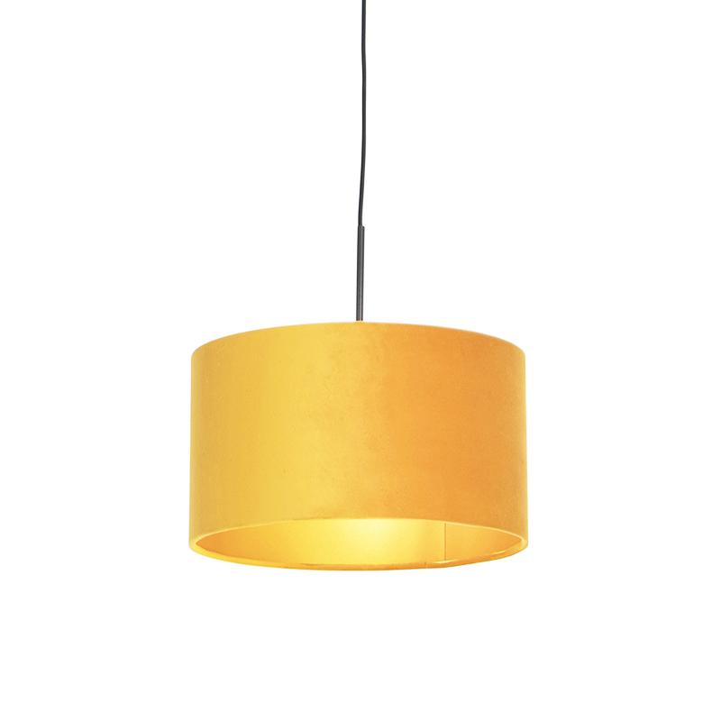 Hanglamp met velours kap oker met goud 35 cm - Combi