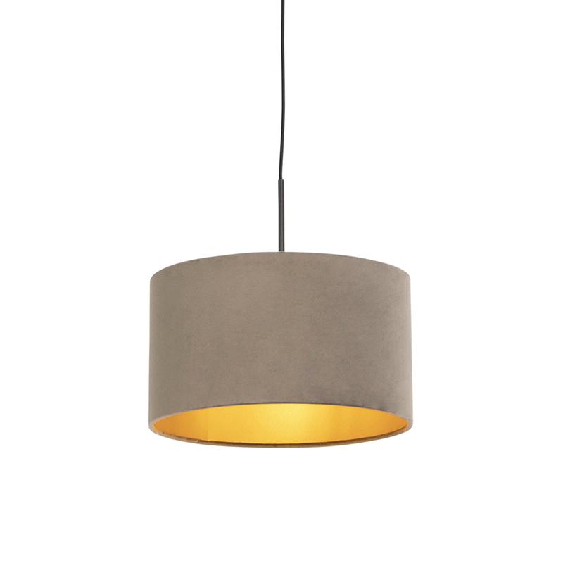 Hanglamp met velours kap taupe met goud 35 cm - Combi