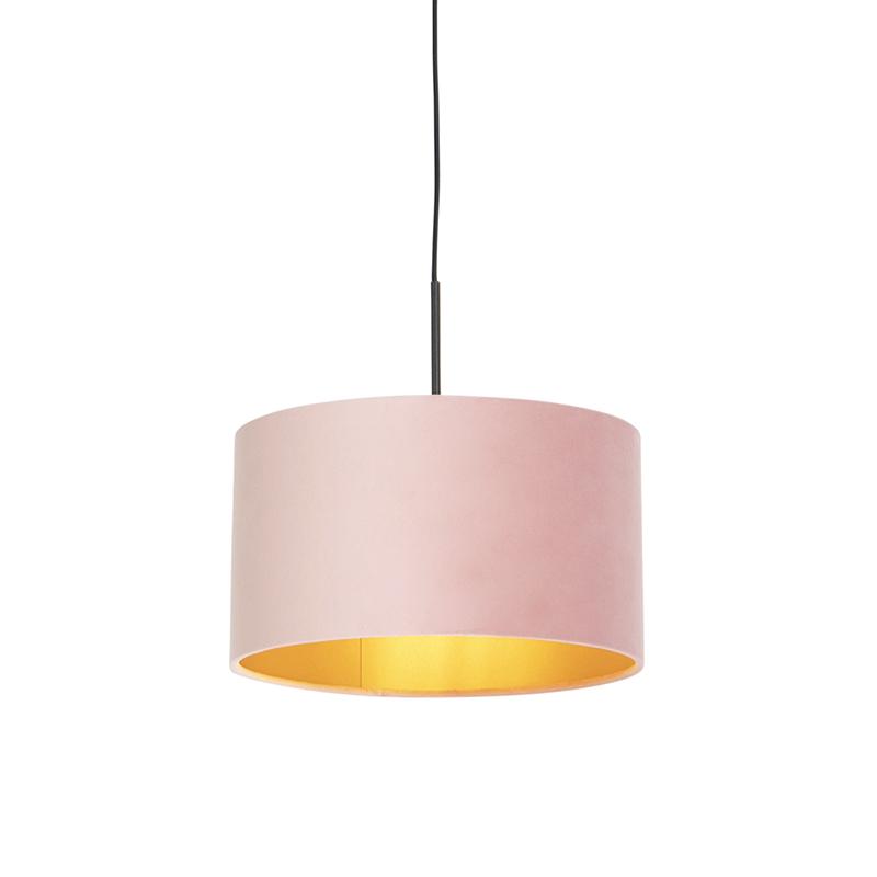 Hanglamp met velours kap roze met goud 35 cm - Combi