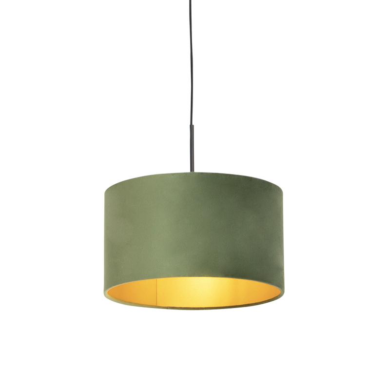 Hanglamp met velours kap groen met goud 35 cm - Combi