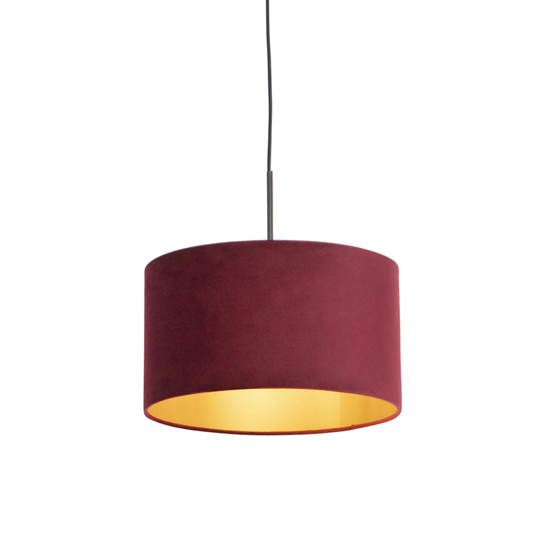 Zwarte hanglamp met velours kap rood met goud 35 cm - Combi