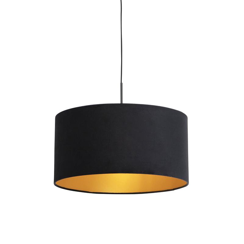 Hanglamp met velours kap zwart met goud 50 cm - Combi