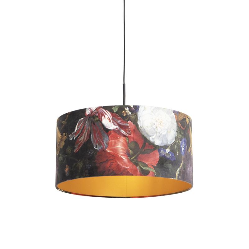 Hanglamp met velours kap bloemen met goud 50 cm - Combi