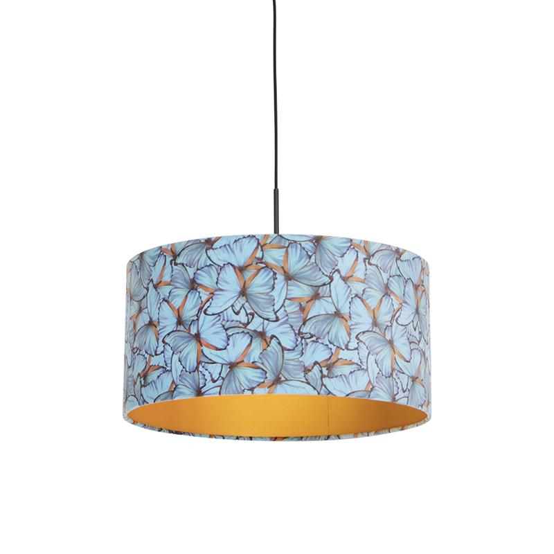 Hängelampe mit Schirm Schmetterling/Gold 50 cm - Combi | Lampen > Deckenleuchten > Deckenlampen | Bunt - Schwarz | Textil | QAZQA