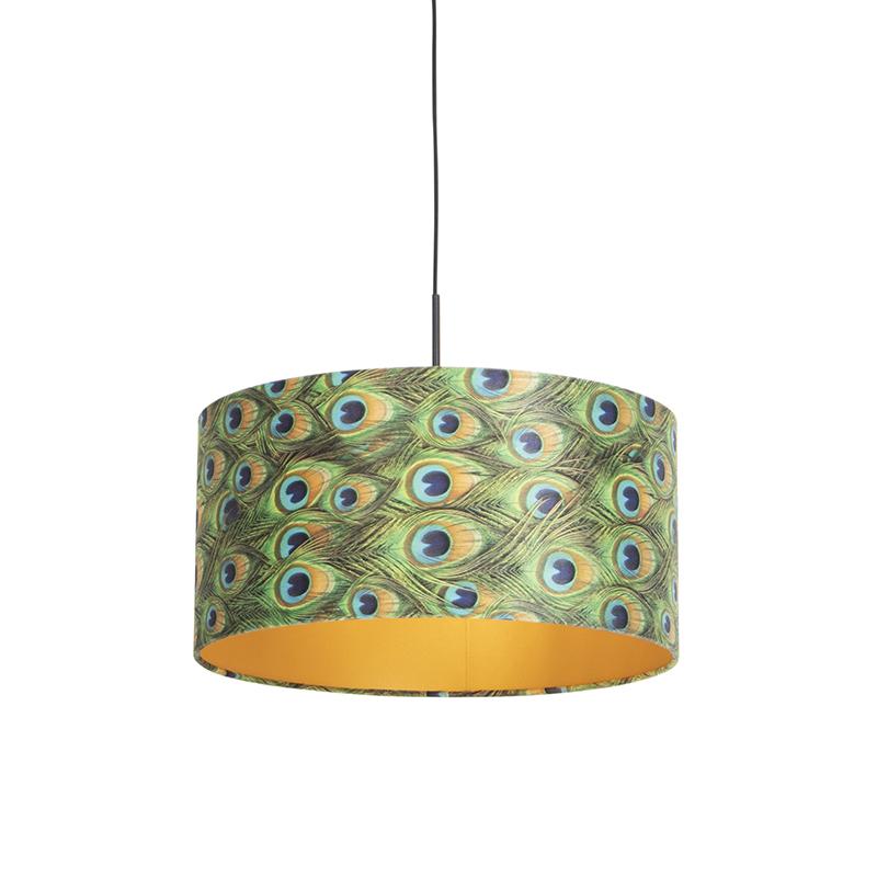 Hanglamp met velours kap pauw met goud 50 cm - Combi