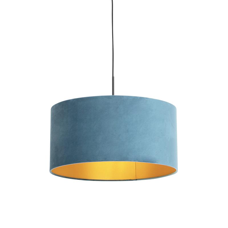 Hanglamp met velours kap blauw met goud 50 cm - Combi