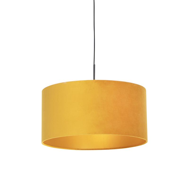 Zwarte hanglamp met velours kap geel met goud 50 cm - Combi