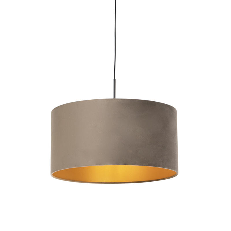 Hanglamp met velours kap taupe met goud 50 cm - Combi