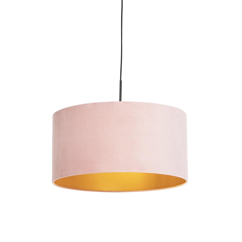 Hanglamp met velours kap roze met goud 50 cm - Combi