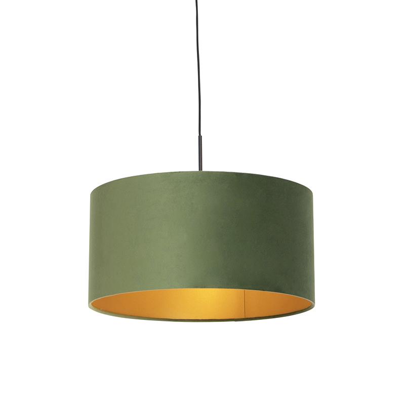Lampa wisząca klosz welurowy zielono-złoty 50cm - Combi