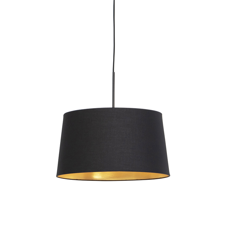 Hanglamp met katoenen kap zwart met goud 40 cm - Combi
