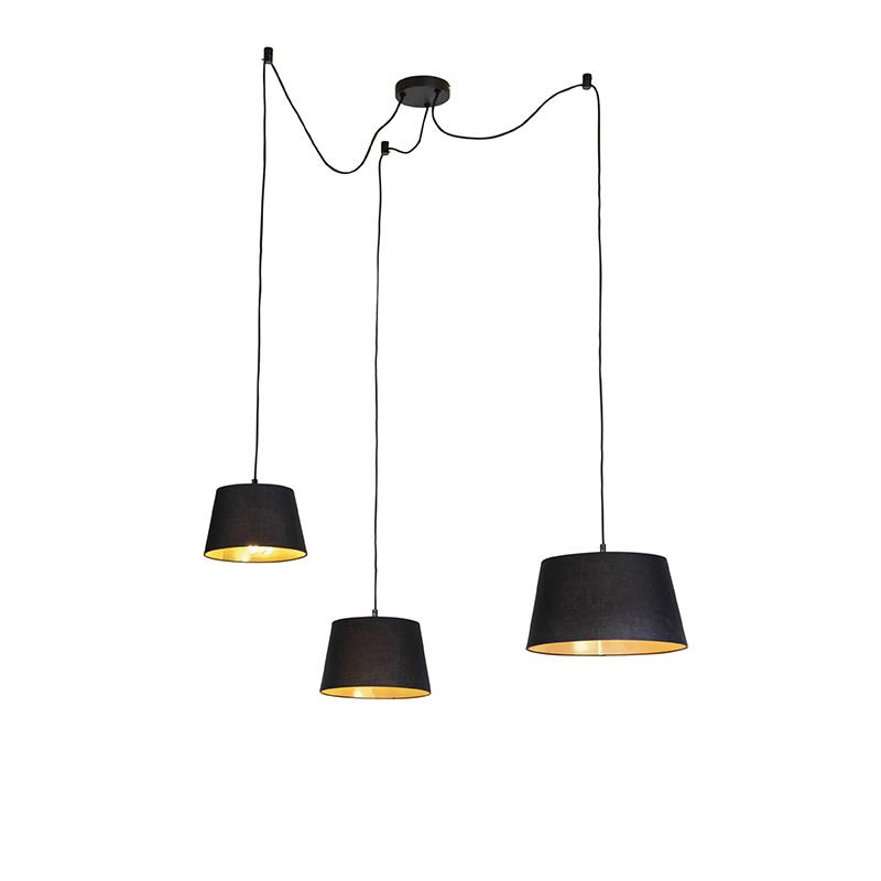 Hanglamp met 3 katoenen kappen zwart met goud - Cava